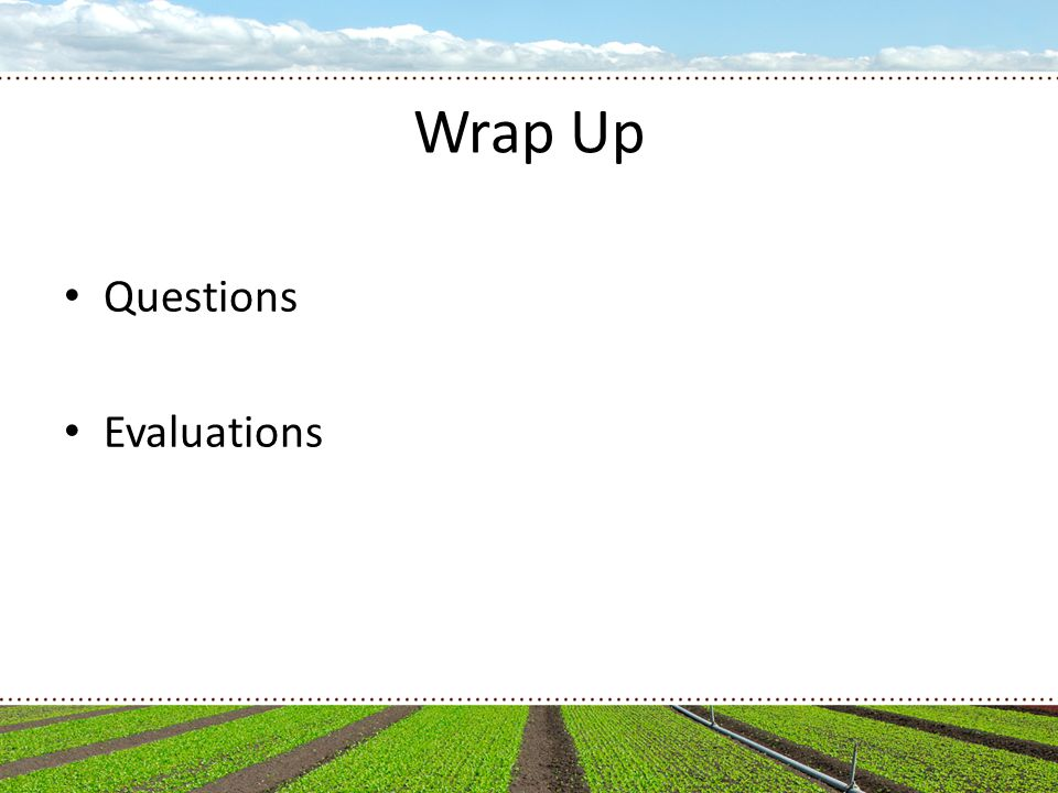 Wrap Up Questions Evaluations