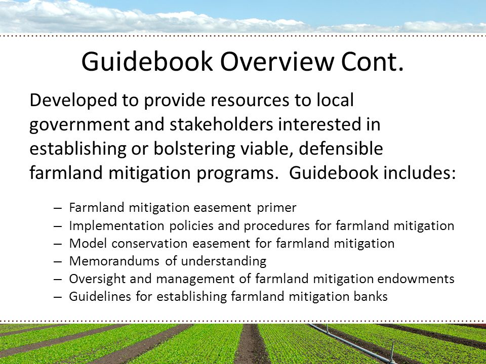 Guidelines for Farmland Mitigation Banks Location Service Area Stacking Credit Accounting
