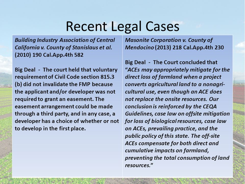 Recent Legal Cases Building Industry Association of Central California v.