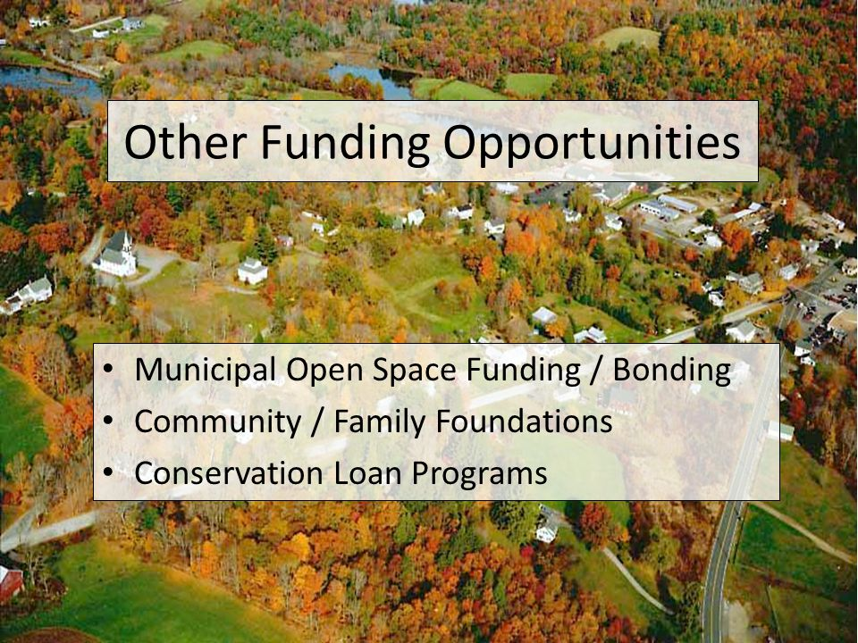 Other Funding Opportunities Municipal Open Space Funding / Bonding Community / Family Foundations Conservation Loan Programs
