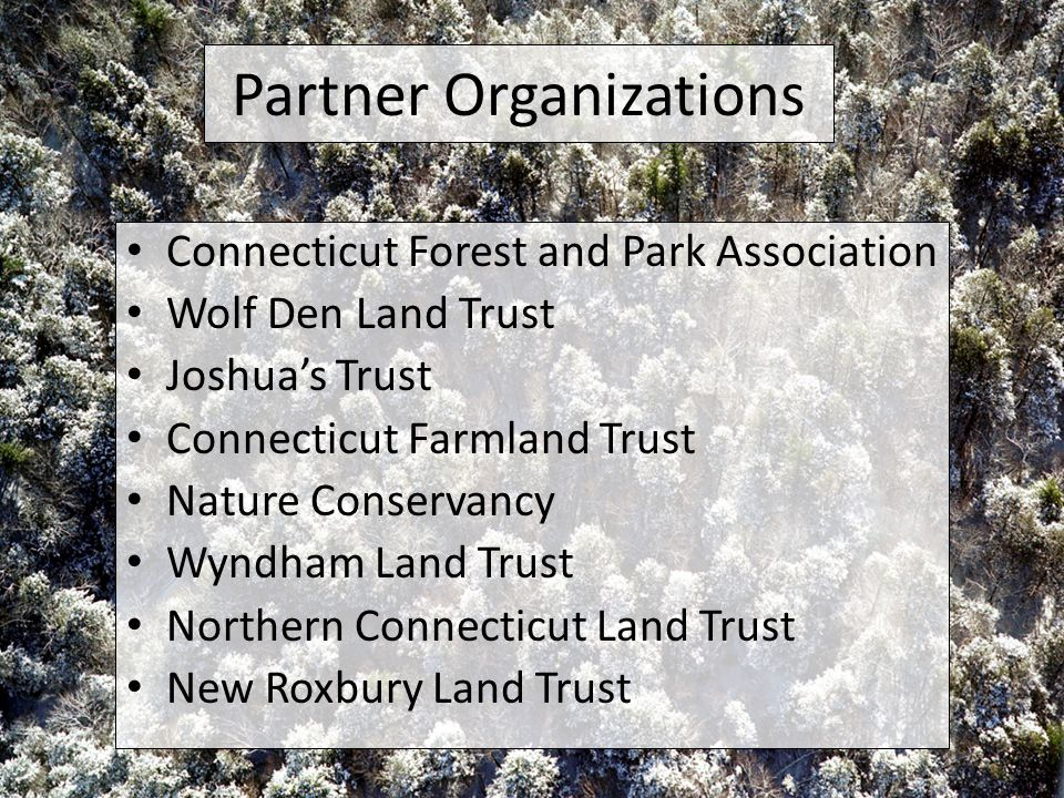 Partner Organizations Connecticut Forest and Park Association Wolf Den Land Trust Joshua's Trust Connecticut Farmland Trust Nature Conservancy Wyndham Land Trust Northern Connecticut Land Trust New Roxbury Land Trust