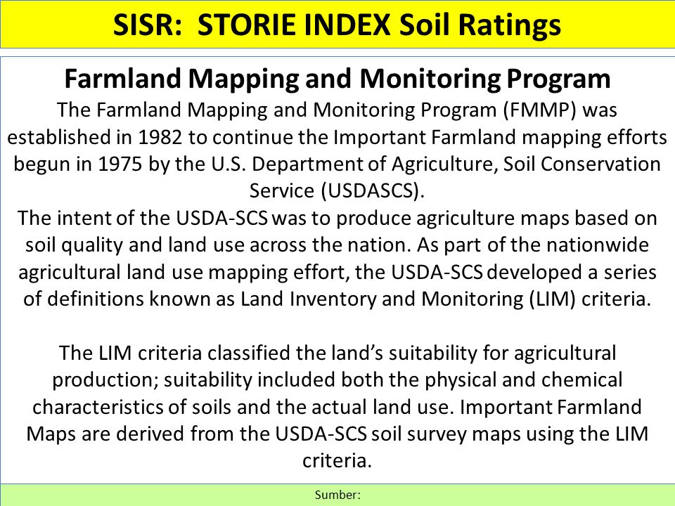 Farmland Mapping and Monitoring Program The Farmland Mapping and Monitoring Program (FMMP) was established in 1982 to continue the Important Farmland