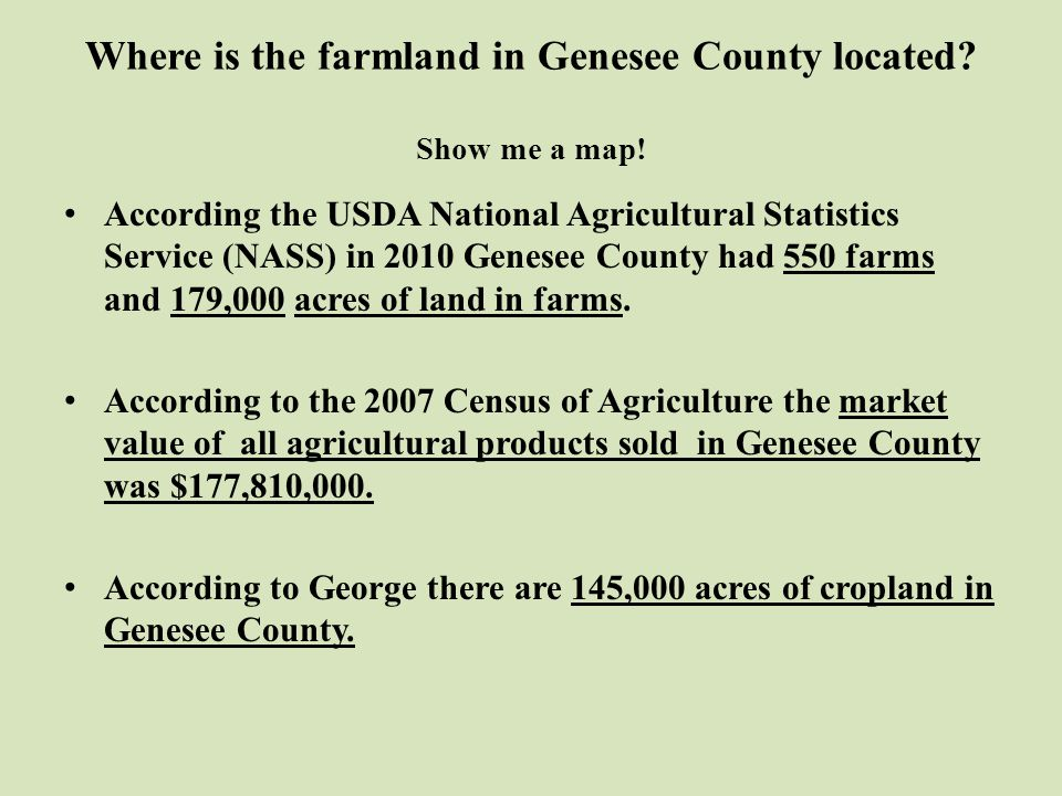 Where is the farmland in Genesee County located. Show me a map.