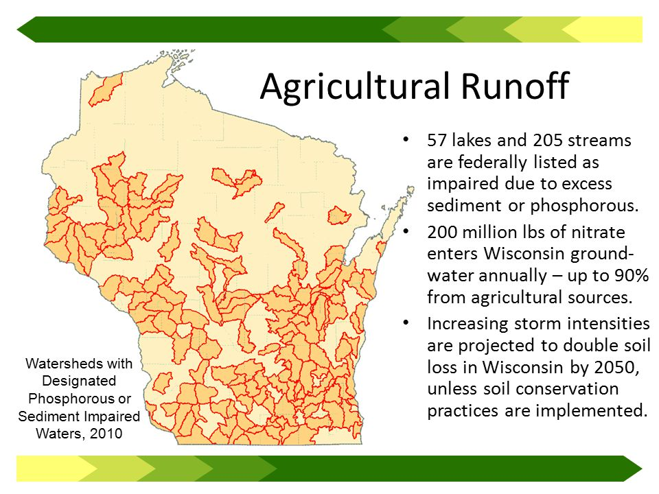 Agricultural Runoff 57 lakes and 205 streams are federally listed as impaired due to excess sediment or phosphorous.