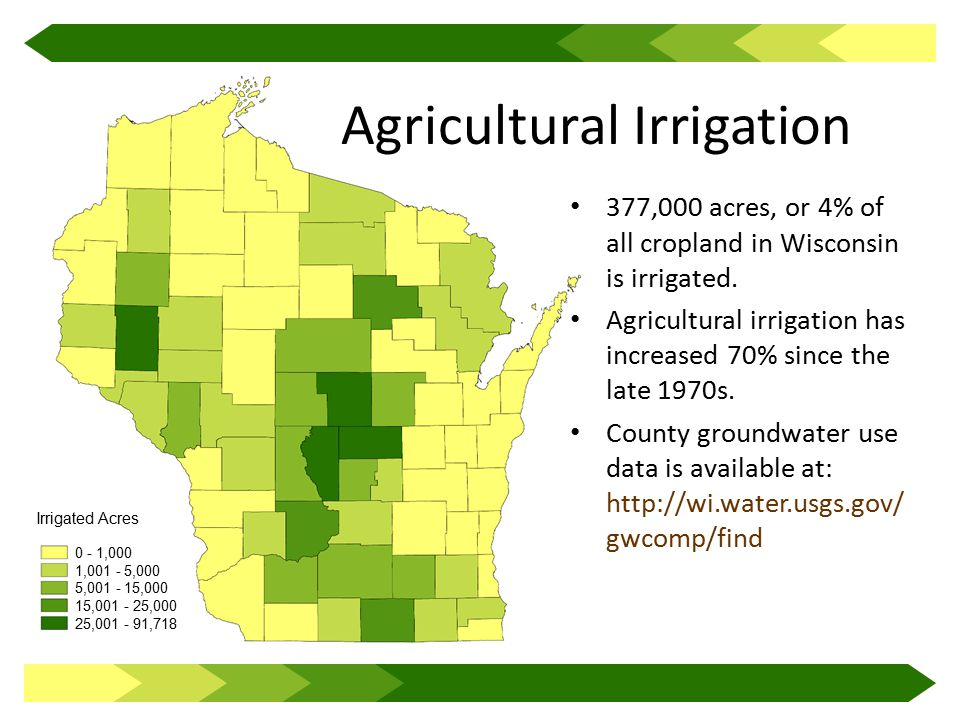 Irrigated Acres 0 - 1,000 1,001 - 5,000 5,001 - 15,000 15,001 - 25,000 25,001 - 91,718 Agricultural Irrigation 377,000 acres, or 4% of all cropland in Wisconsin is irrigated.
