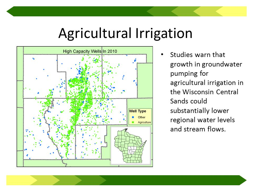 Agricultural Irrigation Studies warn that growth in groundwater pumping for agricultural irrigation in the Wisconsin Central Sands could substantially lower regional water levels and stream flows.