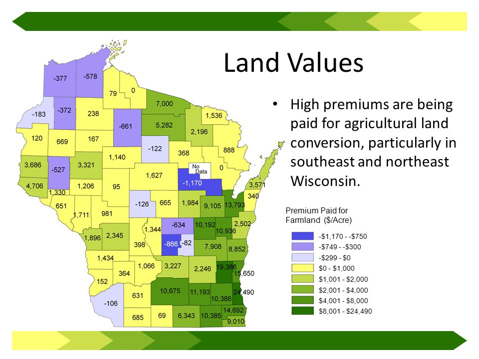 Land Values High premiums are being paid for agricultural land conversion, particularly in southeast and northeast Wisconsin.