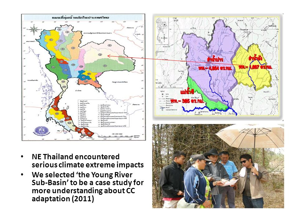 NE Thailand encountered serious climate extreme impacts We selected 'the Young River Sub-Basin' to be a case study for more understanding about CC adaptation (2011)