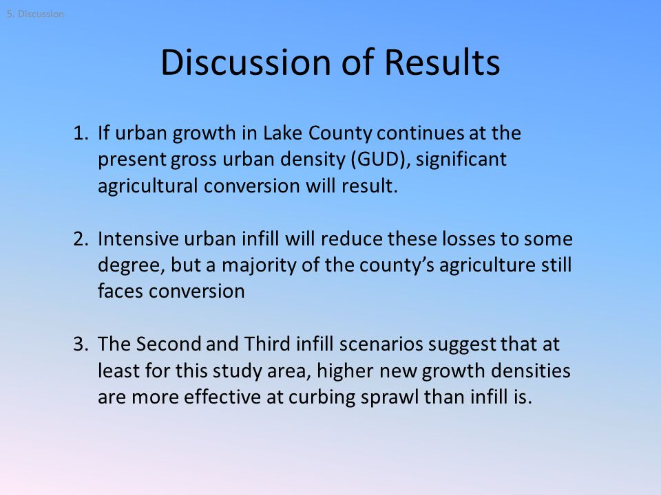 Discussion of Results 1.If urban growth in Lake County continues at the present gross urban density (GUD), significant agricultural conversion will result.