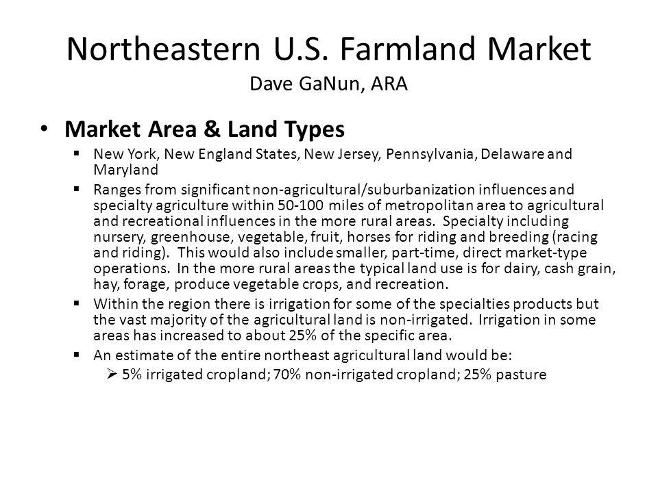 Northeastern U.S. Farmland Market Dave GaNun, ARA Market Area & Land Types  New York, New England States, New Jersey, Pennsylvania, Delaware and Mary