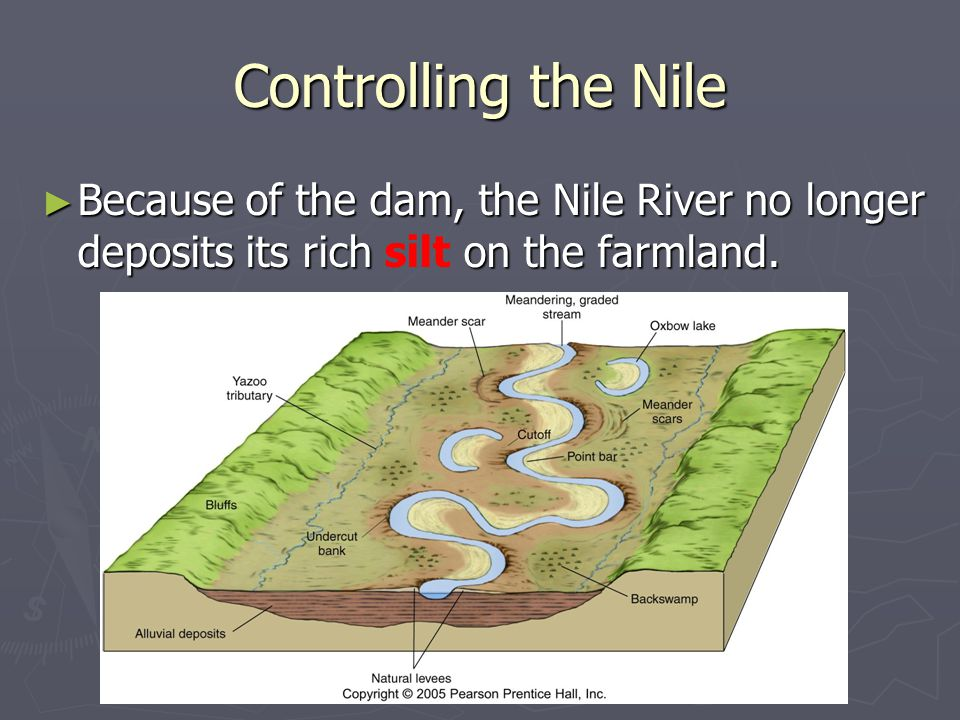 ► Because of the dam, the Nile River no longer deposits its rich on the farmland. ► Because of the dam, the Nile River no longer deposits its rich sil