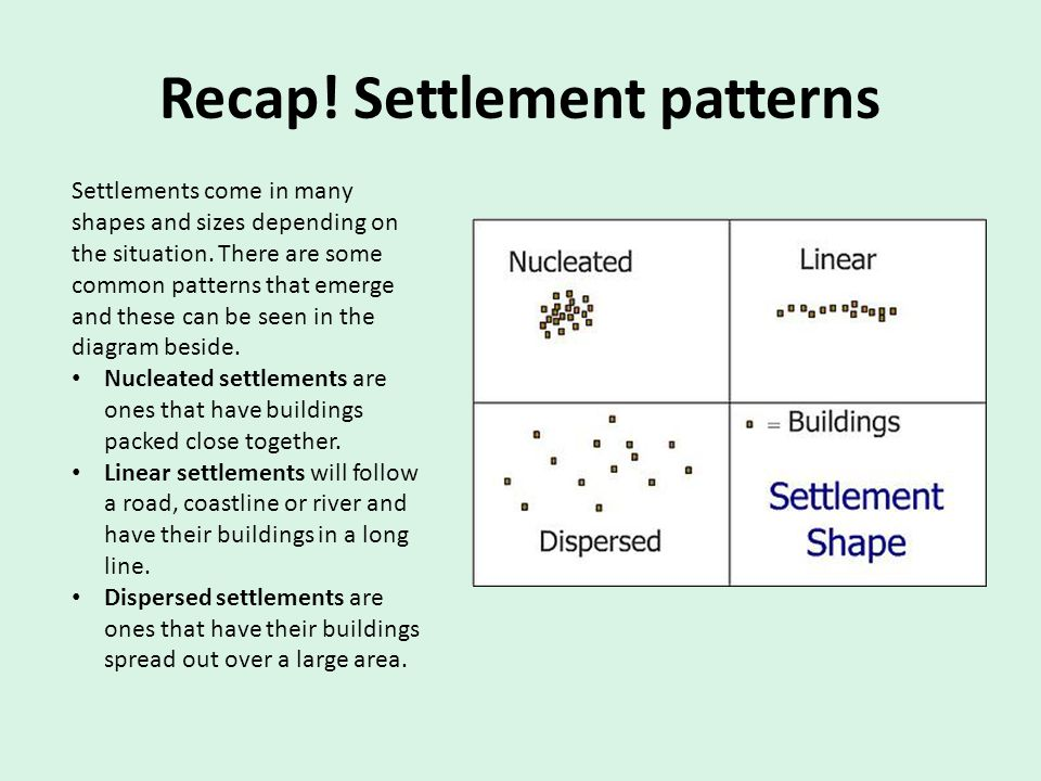 Recap! Settlement patterns Settlements come in many shapes and sizes depending on the situation. There are some common patterns that emerge and these