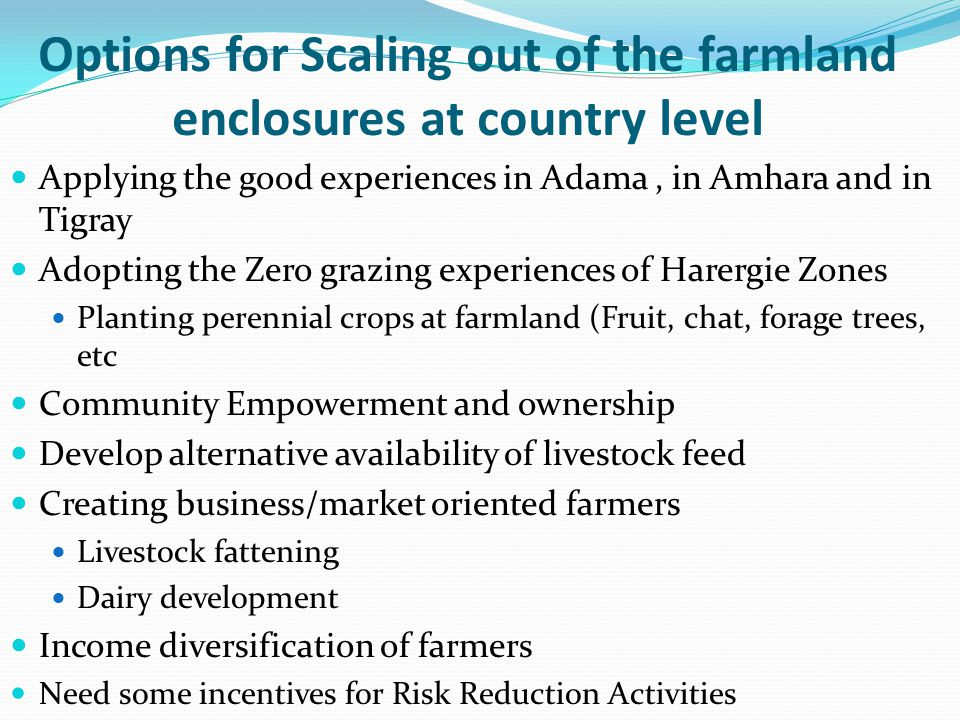 Options for Scaling out of the farmland enclosures at country level Applying the good experiences in Adama, in Amhara and in Tigray Adopting the Zero grazing experiences of Harergie Zones Planting perennial crops at farmland (Fruit, chat, forage trees, etc Community Empowerment and ownership Develop alternative availability of livestock feed Creating business/market oriented farmers Livestock fattening Dairy development Income diversification of farmers Need some incentives for Risk Reduction Activities