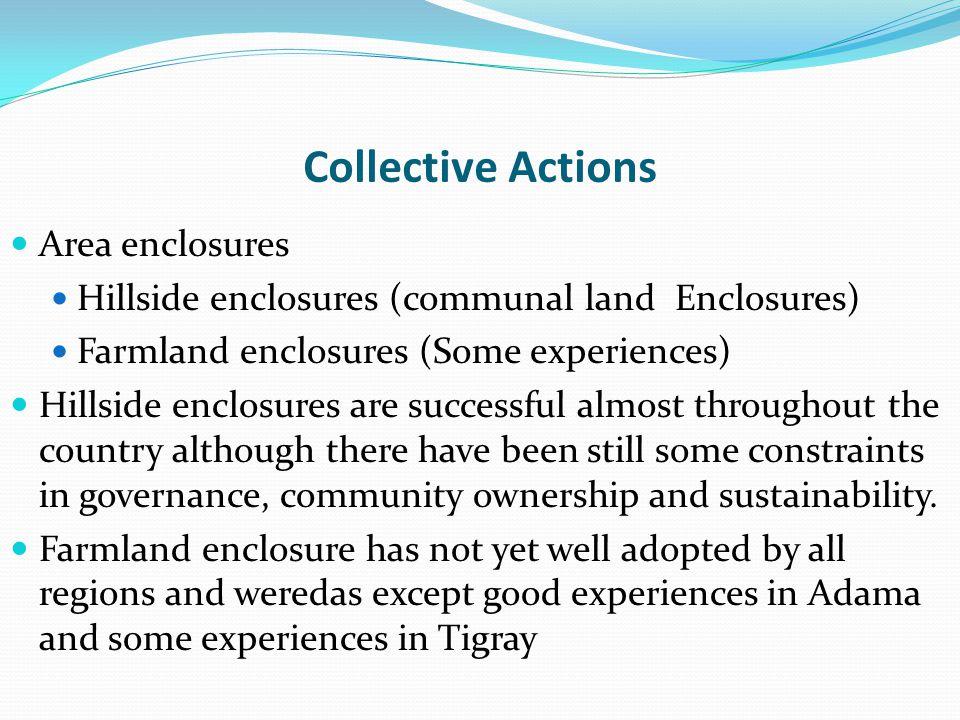 Collective Actions Area enclosures Hillside enclosures (communal land Enclosures) Farmland enclosures (Some experiences) Hillside enclosures are succe