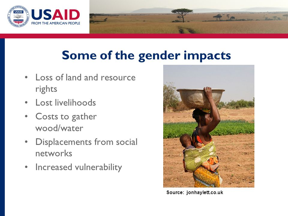 Some of the gender impacts Loss of land and resource rights Lost livelihoods Costs to gather wood/water Displacements from social networks Increased v