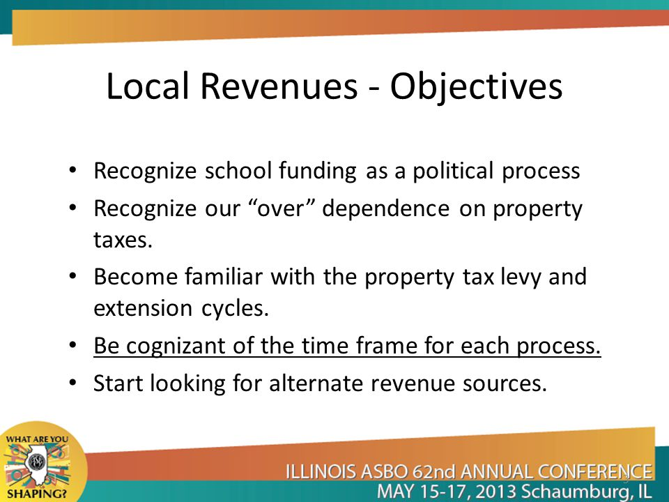 Local Revenues - Objectives Recognize school funding as a political process Recognize our over dependence on property taxes.