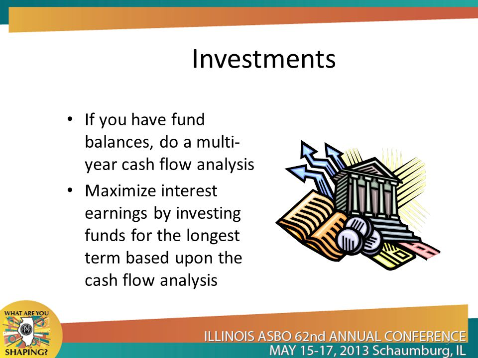 Investments If you have fund balances, do a multi- year cash flow analysis Maximize interest earnings by investing funds for the longest term based upon the cash flow analysis 5