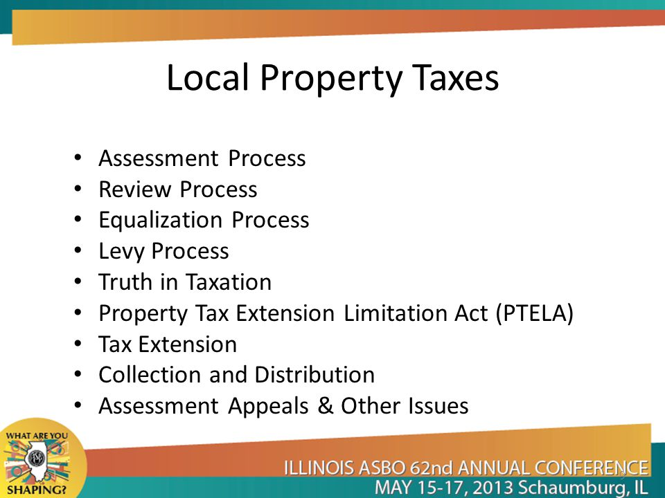 Local Property Taxes Assessment Process Review Process Equalization Process Levy Process Truth in Taxation Property Tax Extension Limitation Act (PTELA) Tax Extension Collection and Distribution Assessment Appeals & Other Issues 9