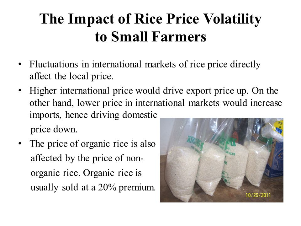 Policy Recommendation to organic rice industry Advocacy of government policies to support and expand organic farming, and to facilitate credit access to raise reserve funds.
