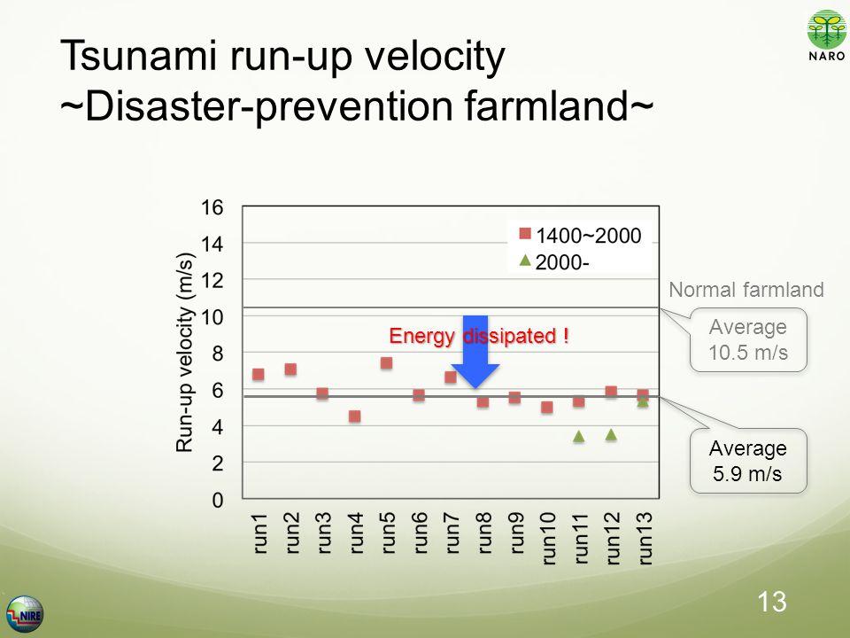 Tsunami run-up velocity ~Disaster-prevention farmland~ Average 5.9 m/s Average 10.5 m/s Normal farmland Energy dissipated .