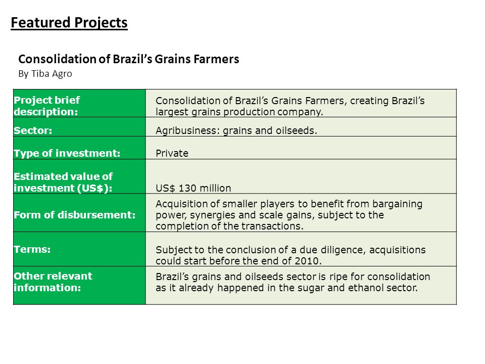 Featured Projects Project brief description: Consolidation of Brazil's Grains Farmers, creating Brazil's largest grains production company. Sector:Agr