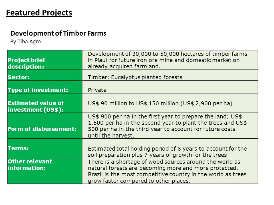 Featured Projects Project brief description: Development of 30,000 to 50,000 hectares of timber farms in Piauí for future iron ore mine and domestic m