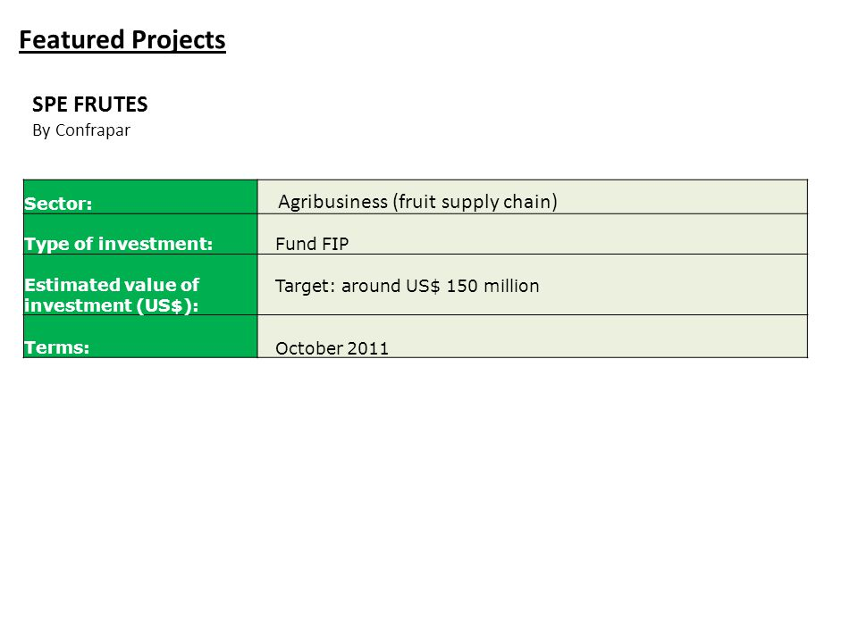 Featured Projects Sector: Agribusiness (fruit supply chain) Type of investment:Fund FIP Estimated value of investment (US$): Target: around US$ 150 mi