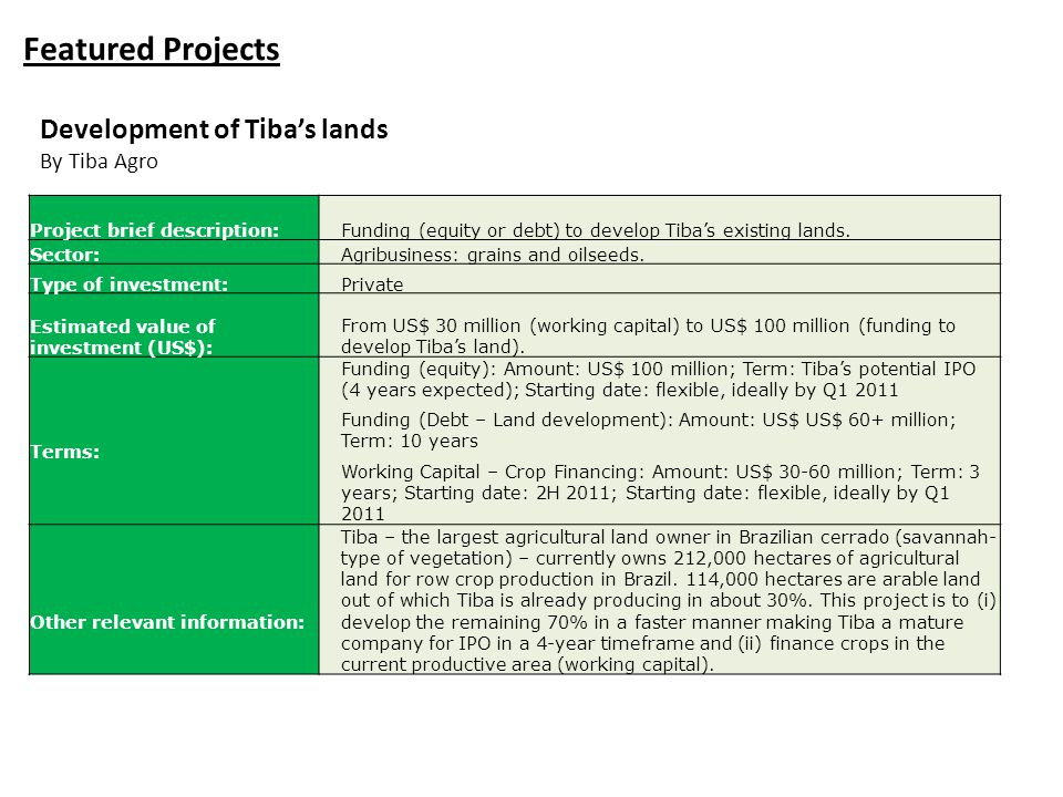 Featured Projects Project brief description:Funding (equity or debt) to develop Tiba's existing lands. Sector:Agribusiness: grains and oilseeds. Type
