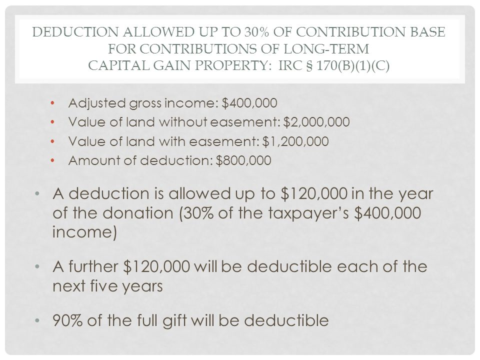 DEDUCTION ALLOWED UP TO 30% OF CONTRIBUTION BASE FOR CONTRIBUTIONS OF LONG-TERM CAPITAL GAIN PROPERTY: IRC § 170(B)(1)(C) Adjusted gross income: $400,000 Value of land without easement: $2,000,000 Value of land with easement: $1,200,000 Amount of deduction: $800,000 A deduction is allowed up to $120,000 in the year of the donation (30% of the taxpayer's $400,000 income) A further $120,000 will be deductible each of the next five years 90% of the full gift will be deductible