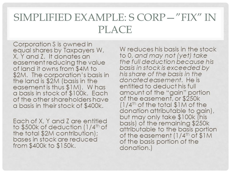 SIMPLIFIED EXAMPLE: S CORP— FIX IN PLACE Corporation S is owned in equal shares by Taxpayers W, X, Y and Z.