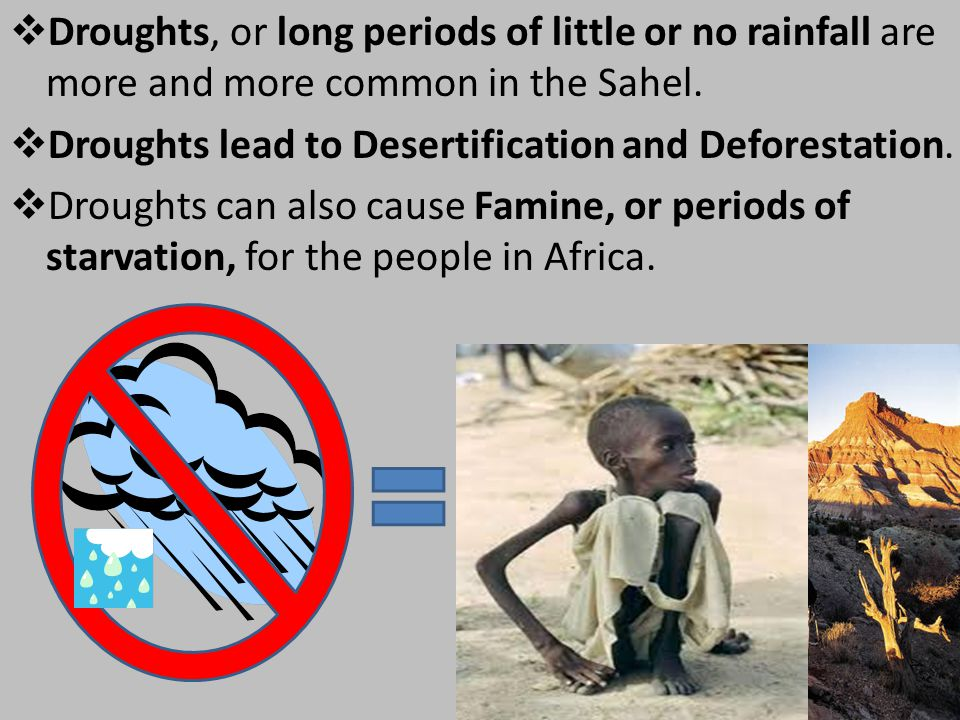  Droughts, or long periods of little or no rainfall are more and more common in the Sahel.  Droughts lead to Desertification and Deforestation.  Dr
