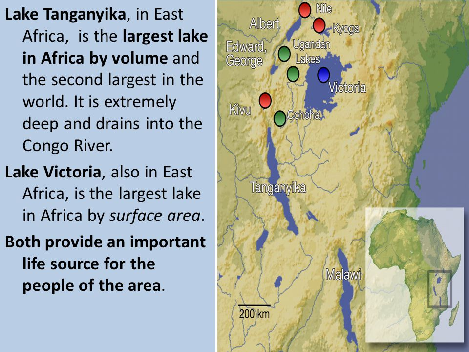 Lake Tanganyika, in East Africa, is the largest lake in Africa by volume and the second largest in the world. It is extremely deep and drains into the