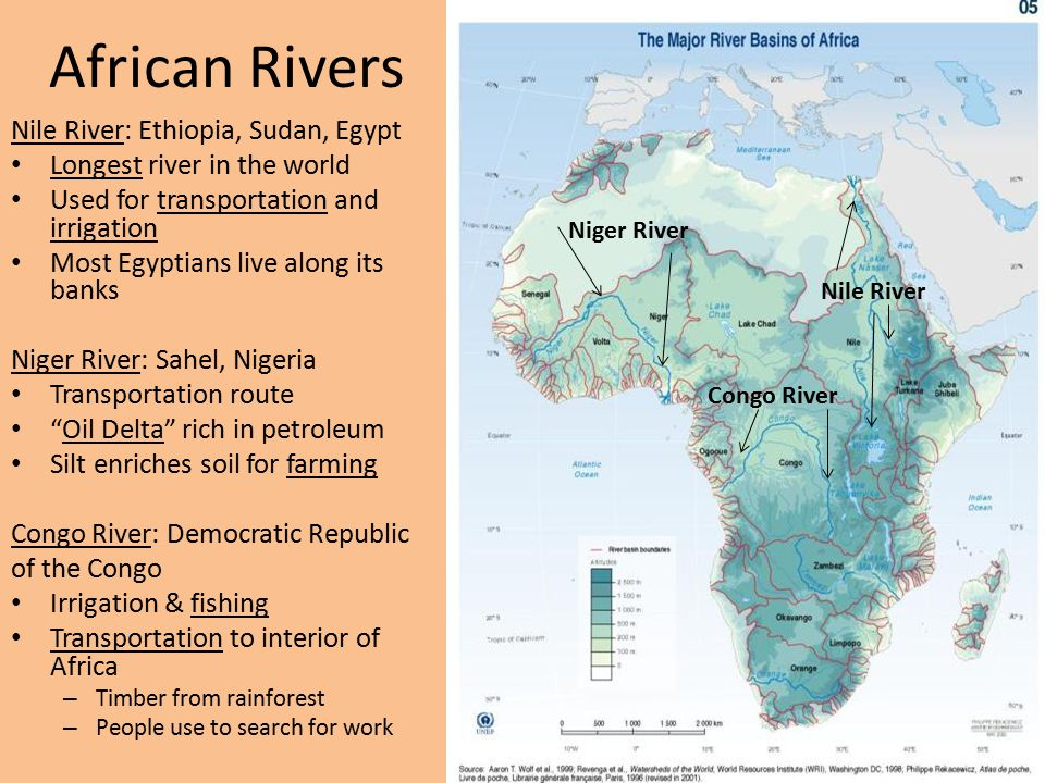 Niger River Congo River Nile River: Ethiopia, Sudan, Egypt Longest river in the world Used for transportation and irrigation Most Egyptians live along