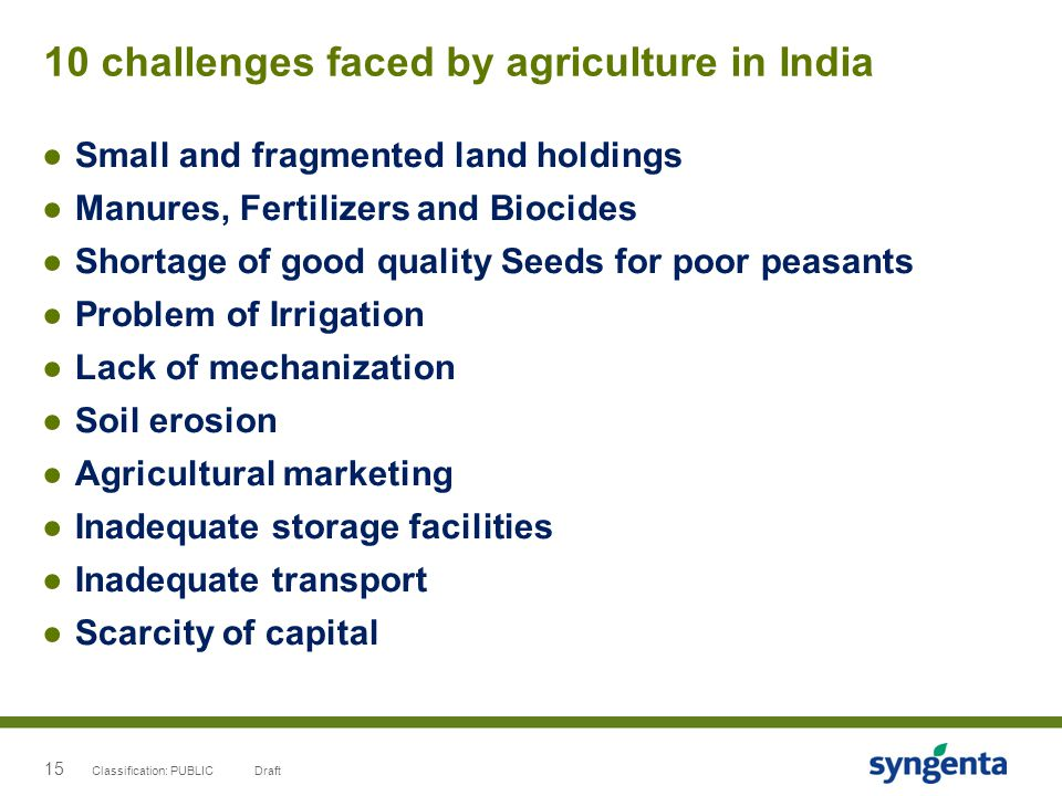 15 10 challenges faced by agriculture in India ●Small and fragmented land holdings ●Manures, Fertilizers and Biocides ●Shortage of good quality Seeds