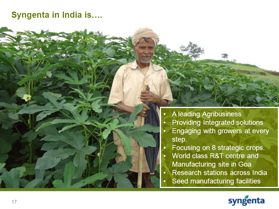 17 Syngenta in India is…. A leading Agribusiness Providing Integrated solutions Engaging with growers at every step. Focusing on 8 strategic crops. Wo