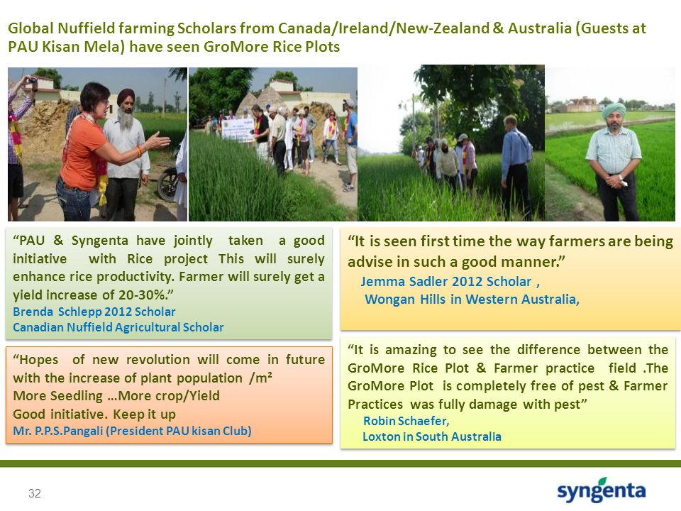 "32 Global Nuffield farming Scholars from Canada/Ireland/New-Zealand & Australia (Guests at PAU Kisan Mela) have seen GroMore Rice Plots ""PAU & Syngent"