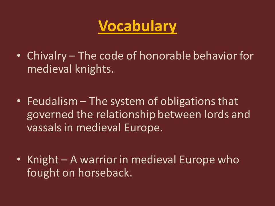 Vocabulary Manor – A large estate owned by a knight or lord.