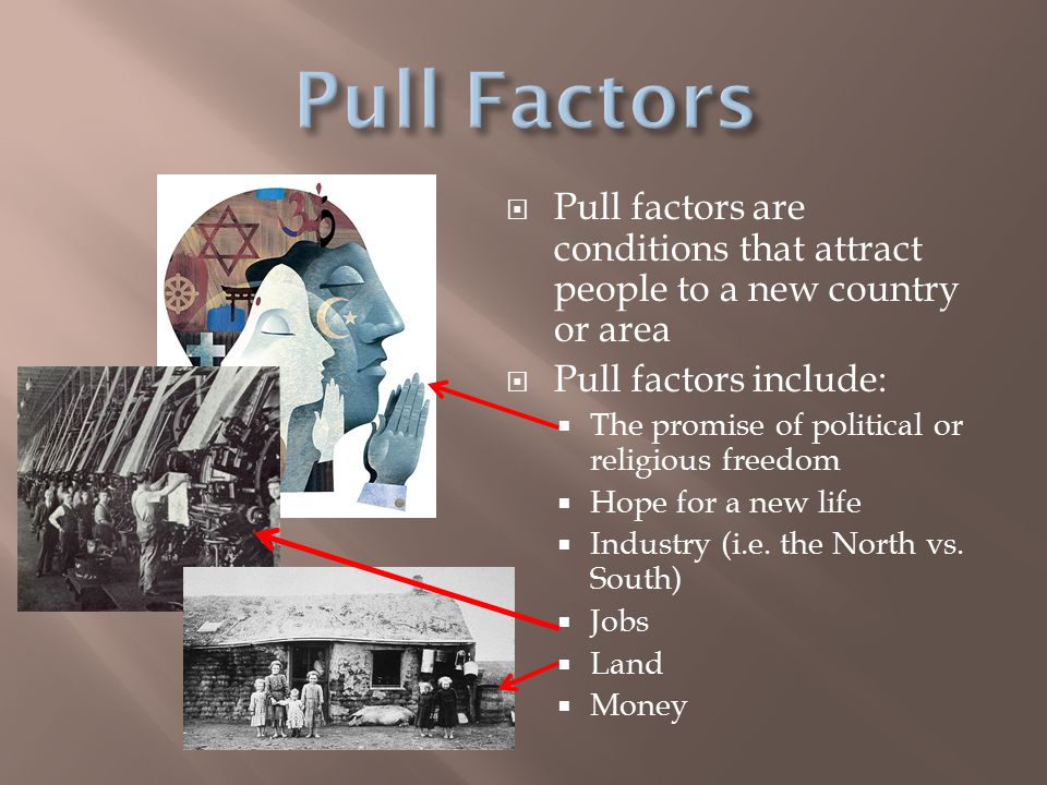  Pull factors are conditions that attract people to a new country or area  Pull factors include:  The promise of political or religious freedom  Hope for a new life  Industry (i.e.