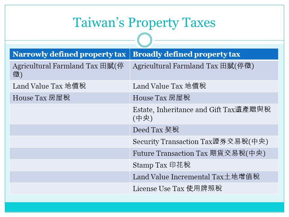 Taiwan's Property Taxes Narrowly defined property taxBroadly defined property tax Agricultural Farmland Tax 田賦 ( 停 徵 ) Land Value Tax 地價稅 House Tax 房屋