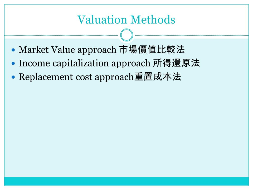 Valuation Methods Market Value approach 市場價值比較法 Income capitalization approach 所得還原法 Replacement cost approach 重置成本法