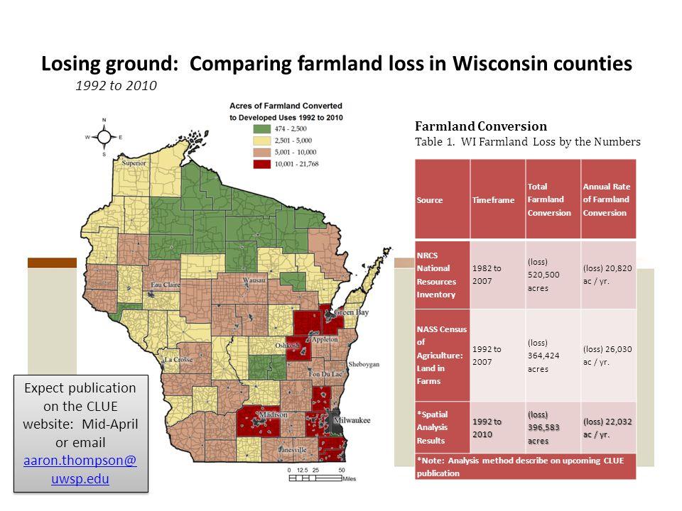 SourceTimeframe Total Farmland Conversion Annual Rate of Farmland Conversion NRCS National Resources Inventory 1982 to 2007 (loss) 520,500 acres (loss) 20,820 ac / yr.