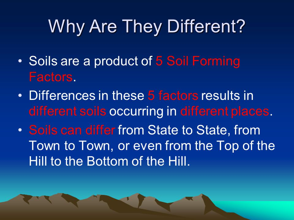 Why Are They Different.Soils are a product of 5 Soil Forming Factors.