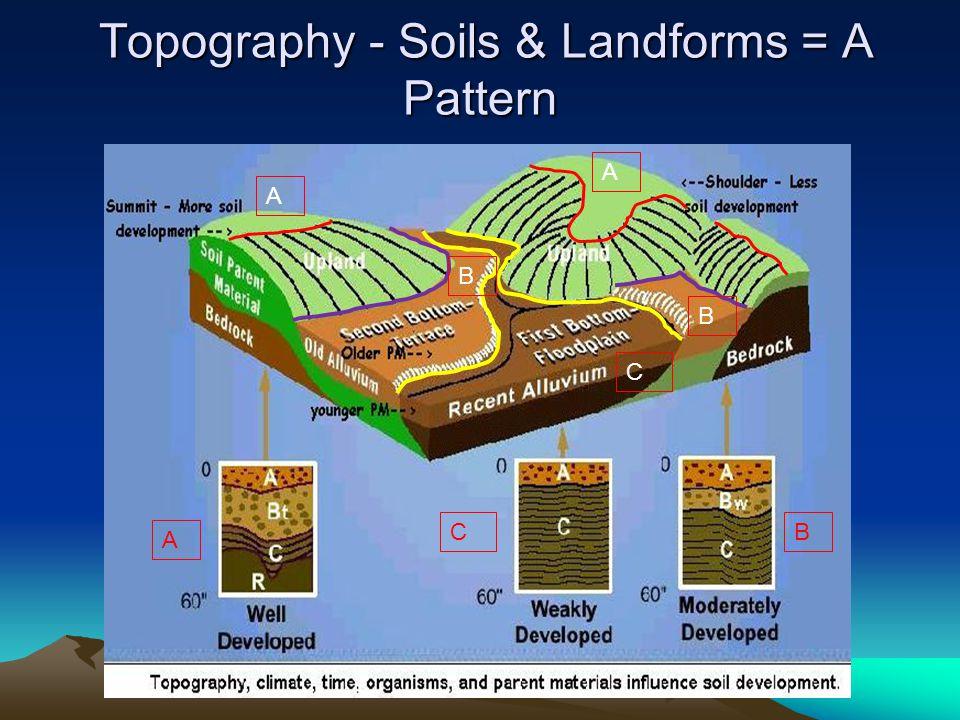 Topography - Soils & Landforms = A Pattern Topography - Soils & Landforms = A Pattern A B C A B C B A