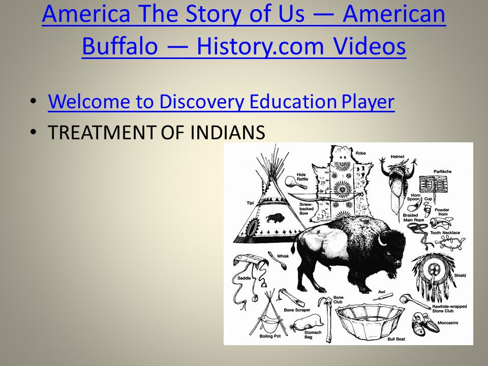 Welcome to Discovery Education Player TREATMENT OF INDIANS America The Story of Us — American Buffalo — History.com Videos