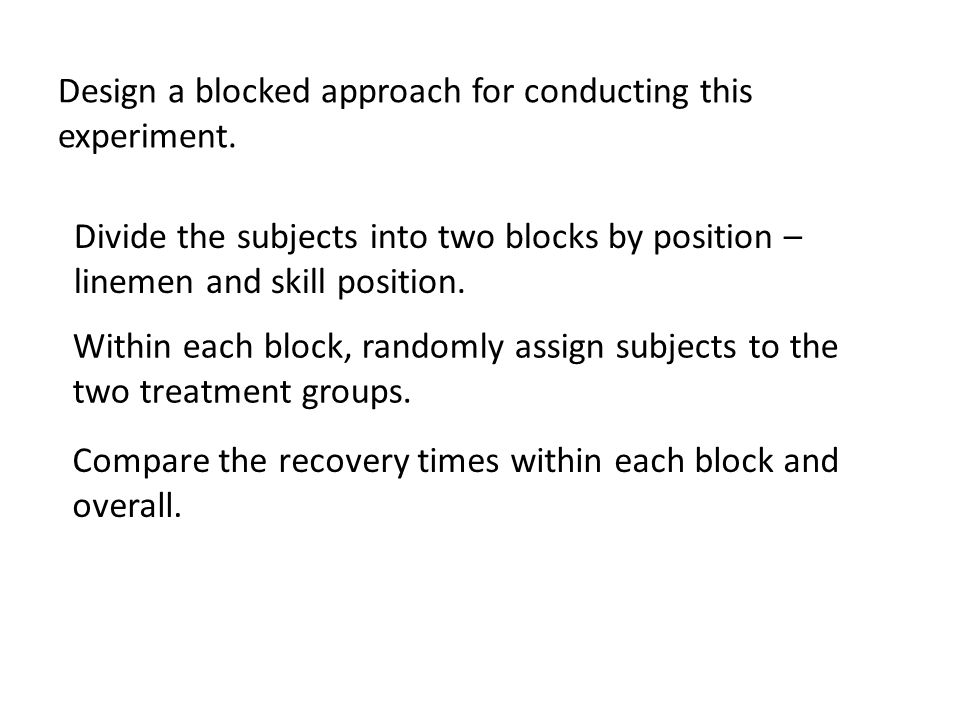 Design a blocked approach for conducting this experiment. Divide the subjects into two blocks by position – linemen and skill position. Within each bl