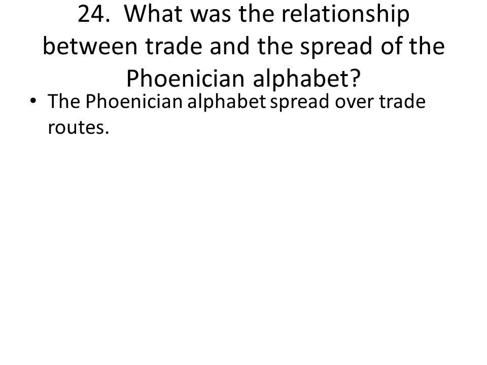 24. What was the relationship between trade and the spread of the Phoenician alphabet.