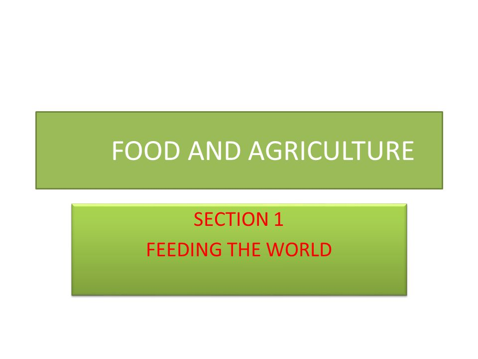 FOOD AND AGRICULTURE SECTION 1 FEEDING THE WORLD SECTION 1 FEEDING THE WORLD