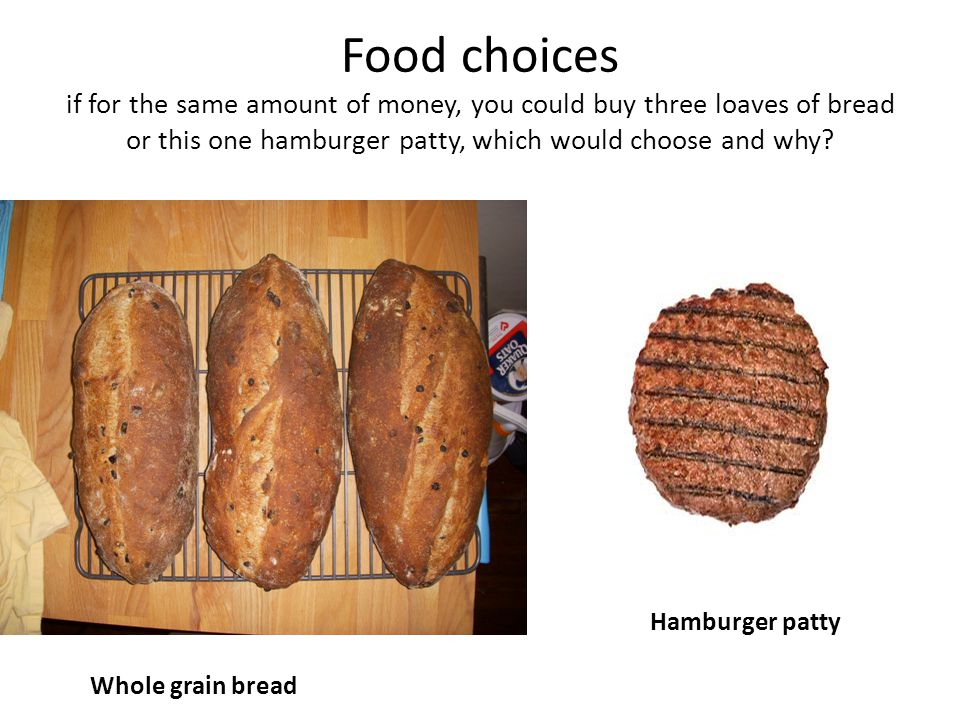 Food choices if for the same amount of money, you could buy three loaves of bread or this one hamburger patty, which would choose and why.
