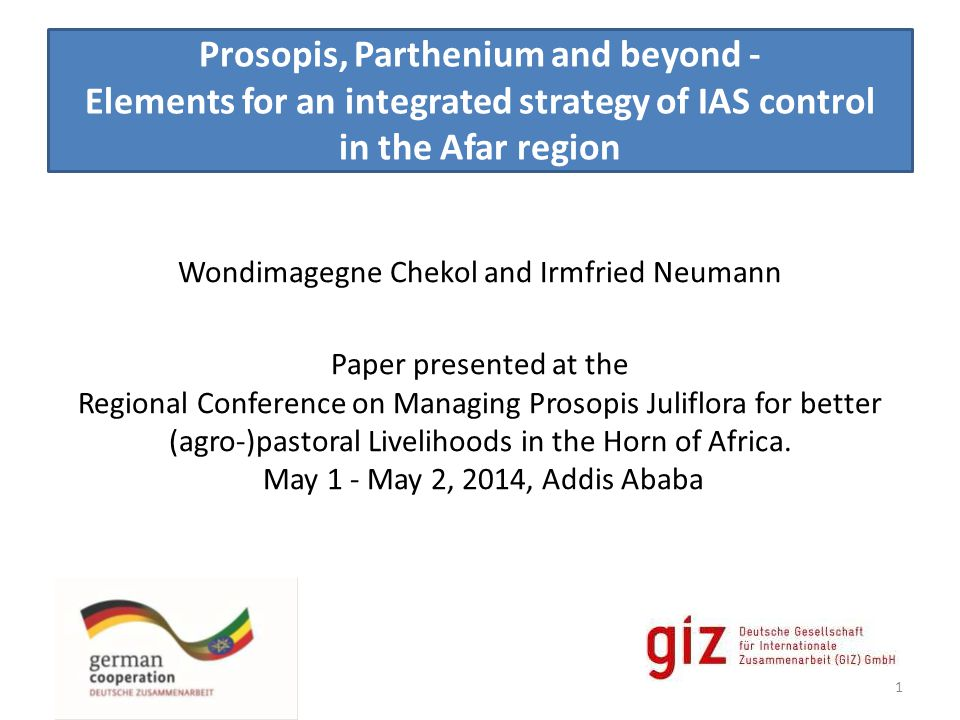 Prosopis, Parthenium and beyond - Elements for an integrated strategy of IAS control in the Afar region Wondimagegne Chekol and Irmfried Neumann Paper presented at the Regional Conference on Managing Prosopis Juliflora for better (agro-)pastoral Livelihoods in the Horn of Africa.