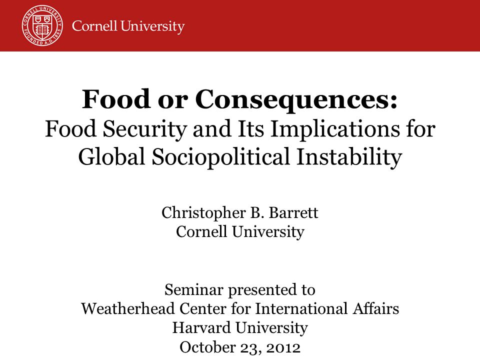 Distribution systems interventions: Export bans and import restrictions that thin global markets: Attempts to insulate domestic mkts from global price shocks amplifies int'l market price volatility Securitization of humanitarian response and decline of international food assistance resources Controls over foreign direct investment in food marketing/ processing channel (e.g., India) Biofuels policy and resulting distortions in ag markets Farm policy and market spillovers – esp.